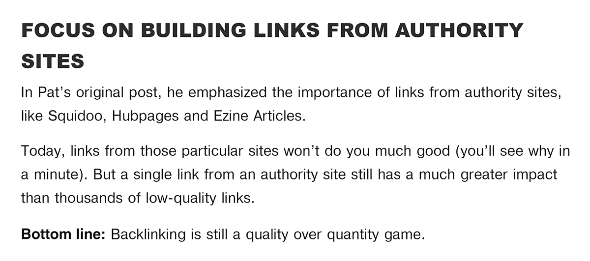 SPI Backlinko guest post focus on authority link building