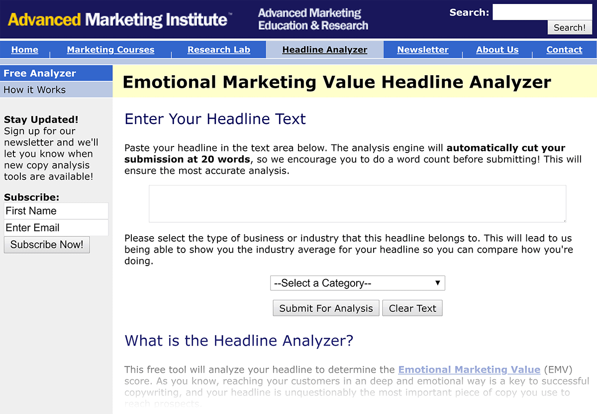AM Institute – Headline analyzer