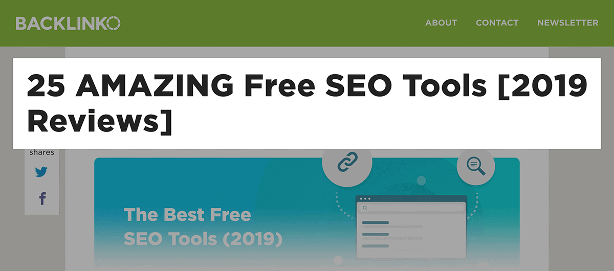 Backlinko – Best Free SEO Tools – Number in title