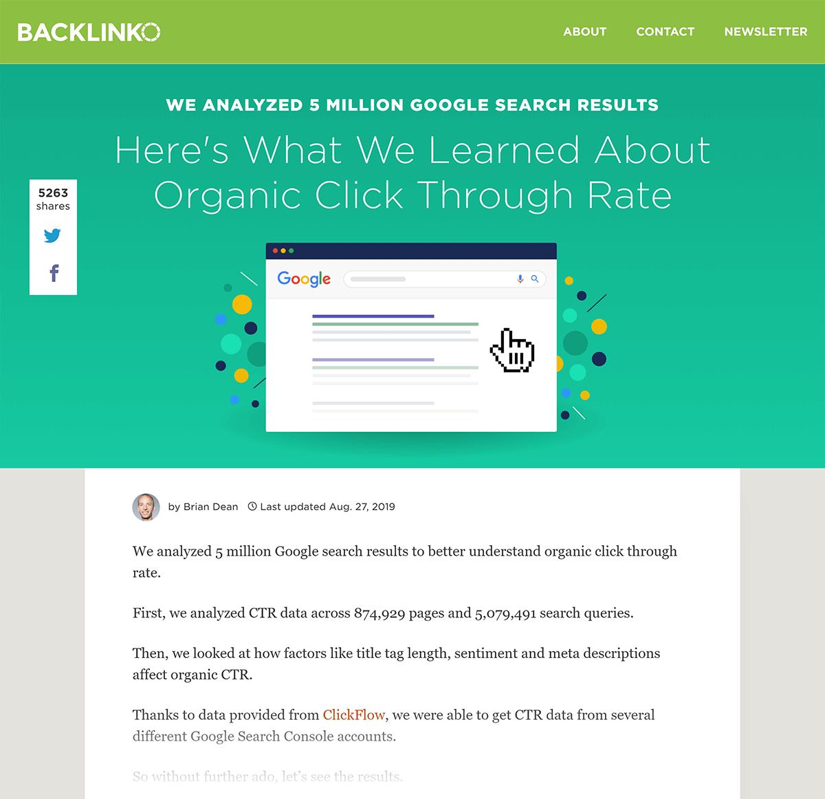 Backlinko – Google CTR stats post