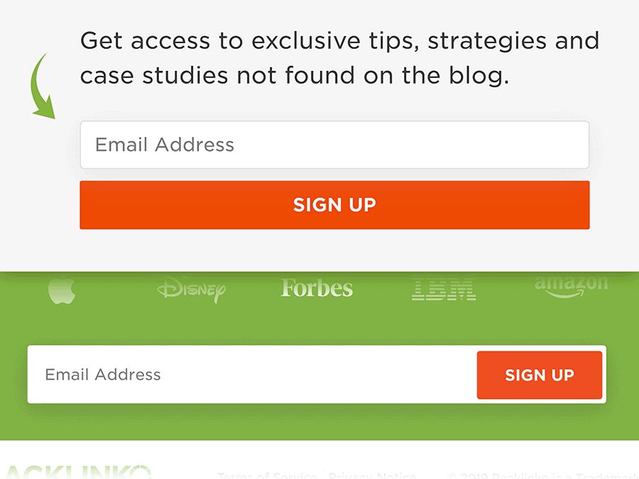 Backlinko newsletter email forms