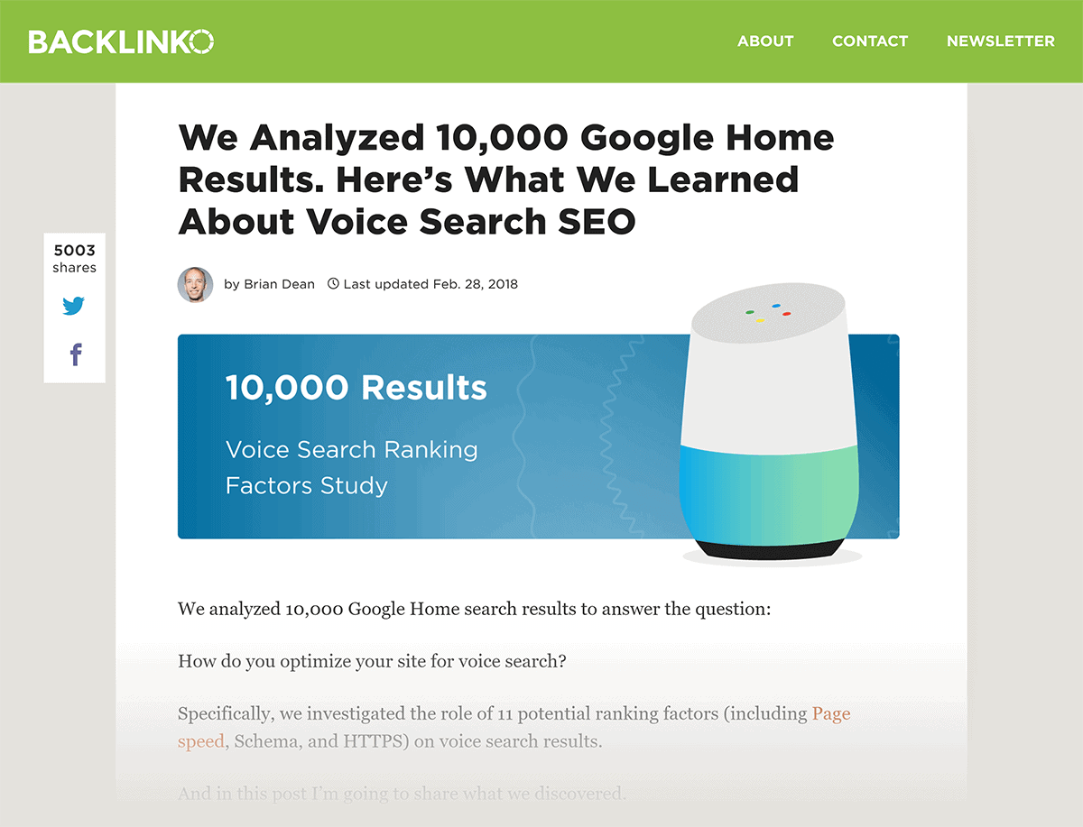 Backlinko post – Voice Search SEO Study