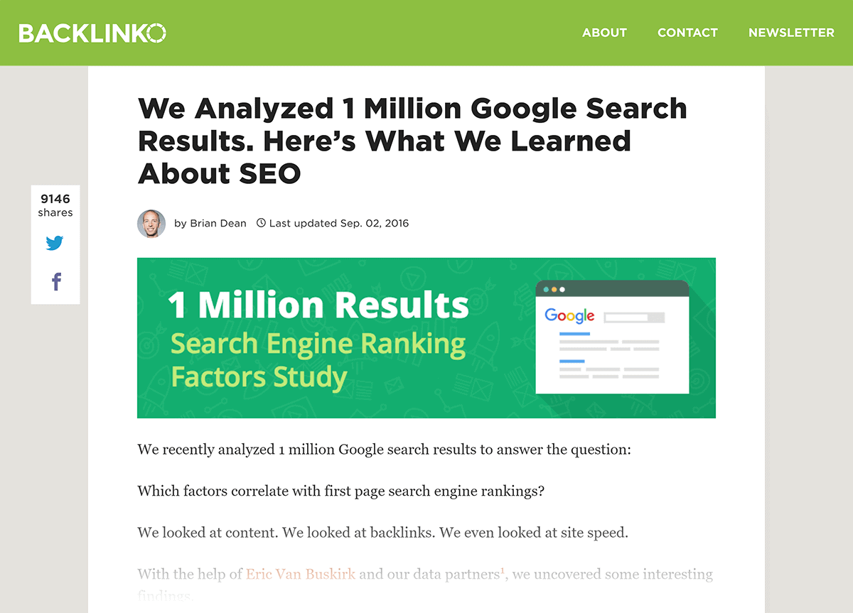 Backlinko – Search Engine Ranking study