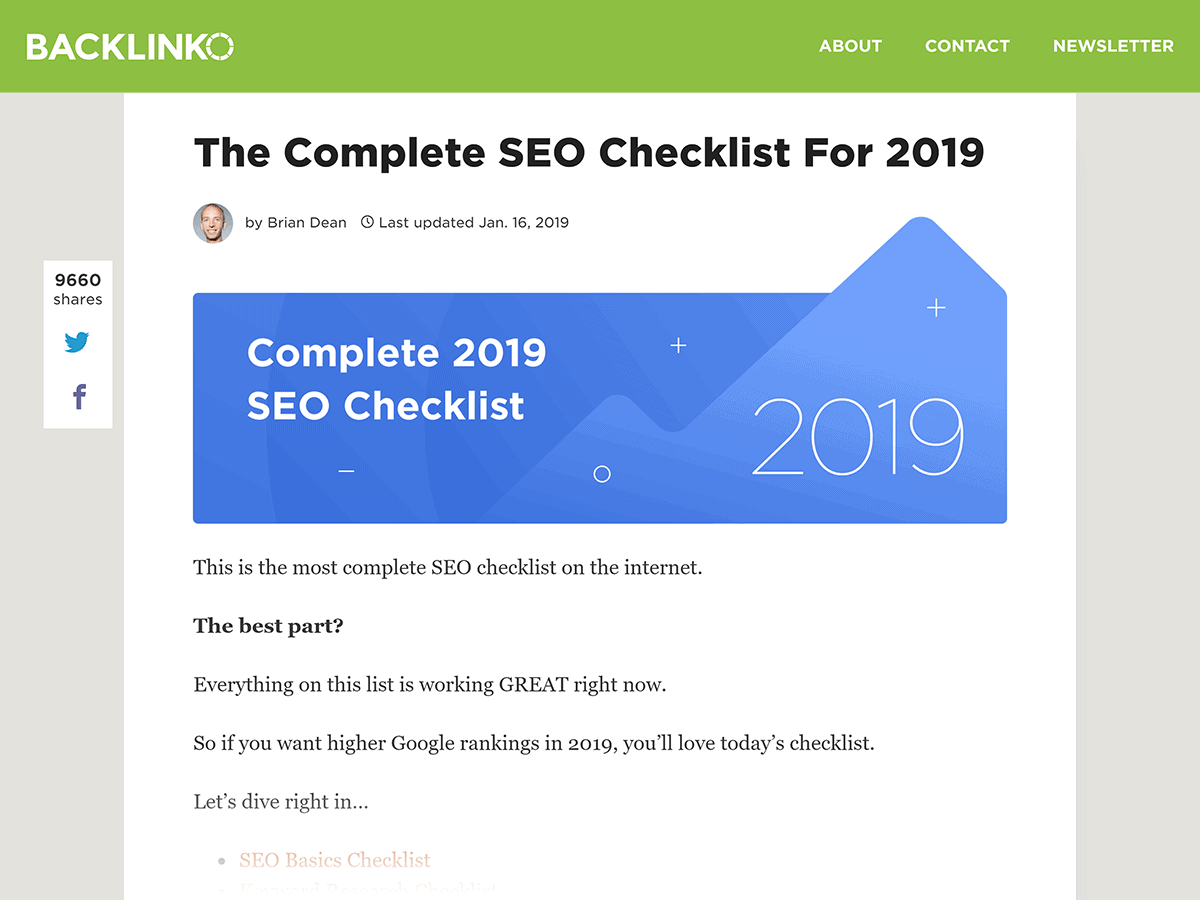 Backlinko – SEO Checklist post