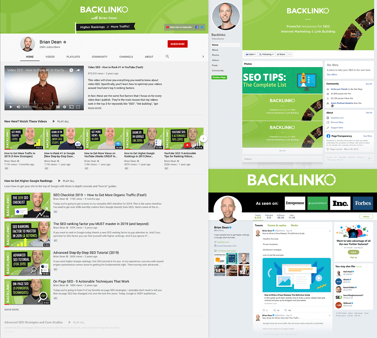 Backlinko – Twitter, YouTube and Facebook