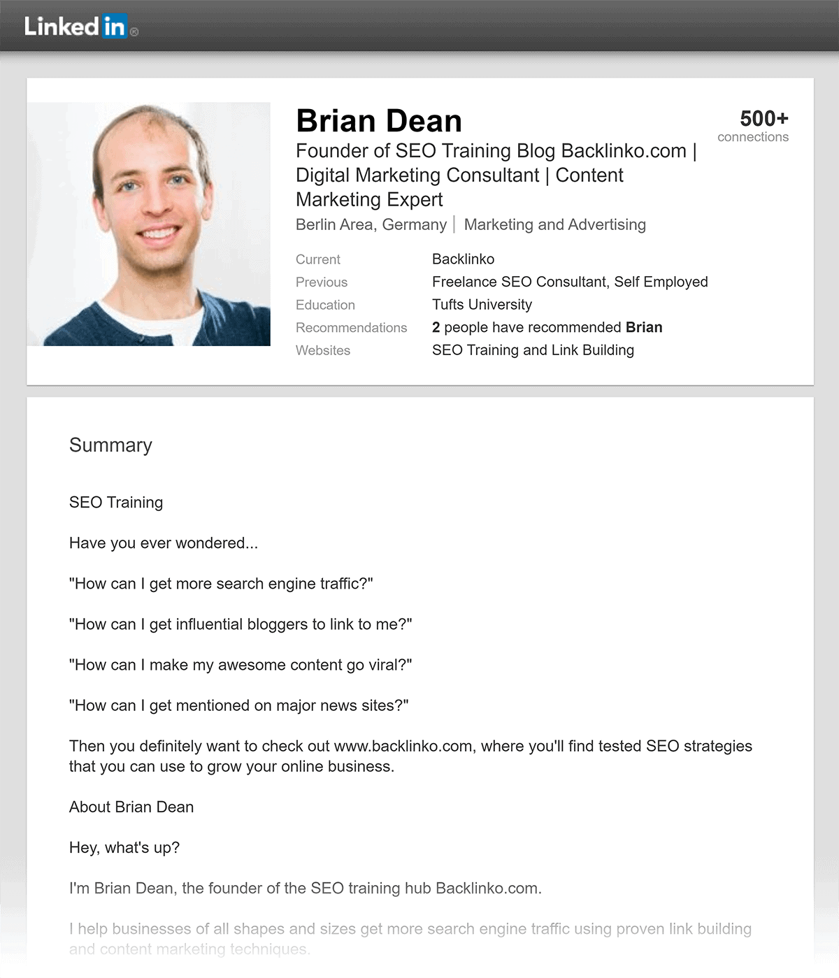 Brian – Old LinkedIn profile