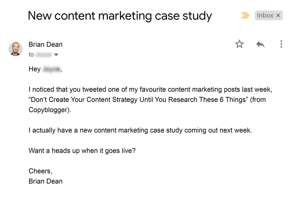 Brian outreach email