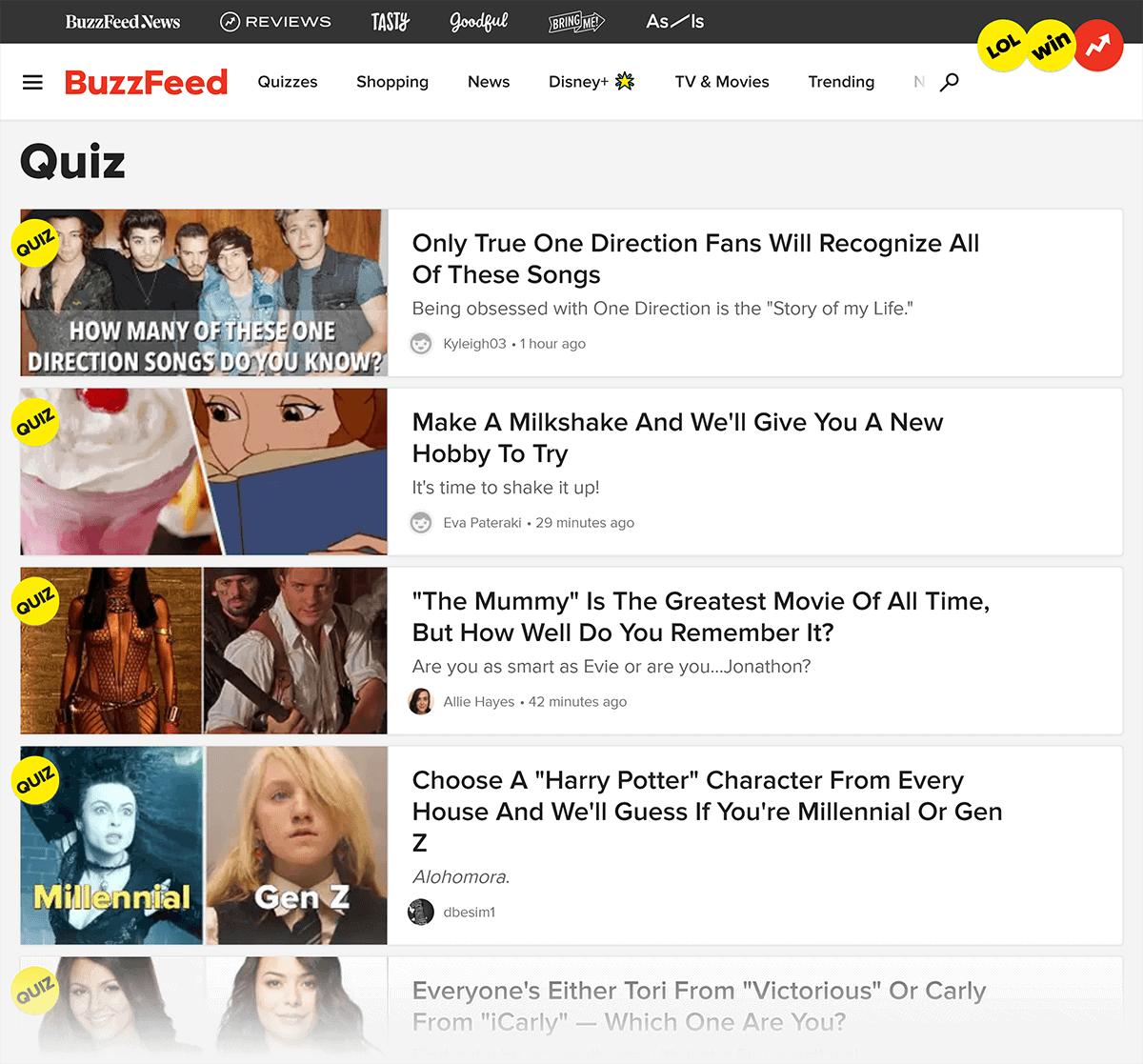 BuzzFeed quizzes