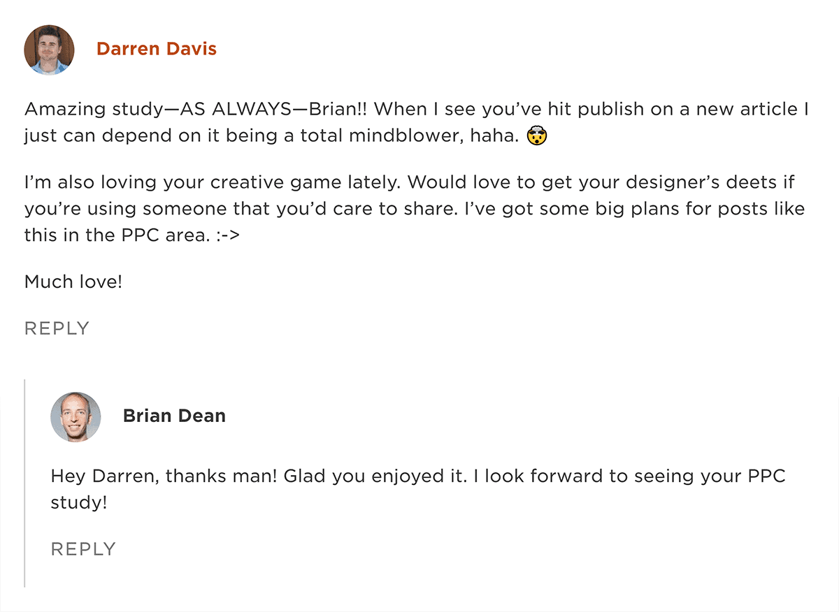 Comment on Backlinko about post design