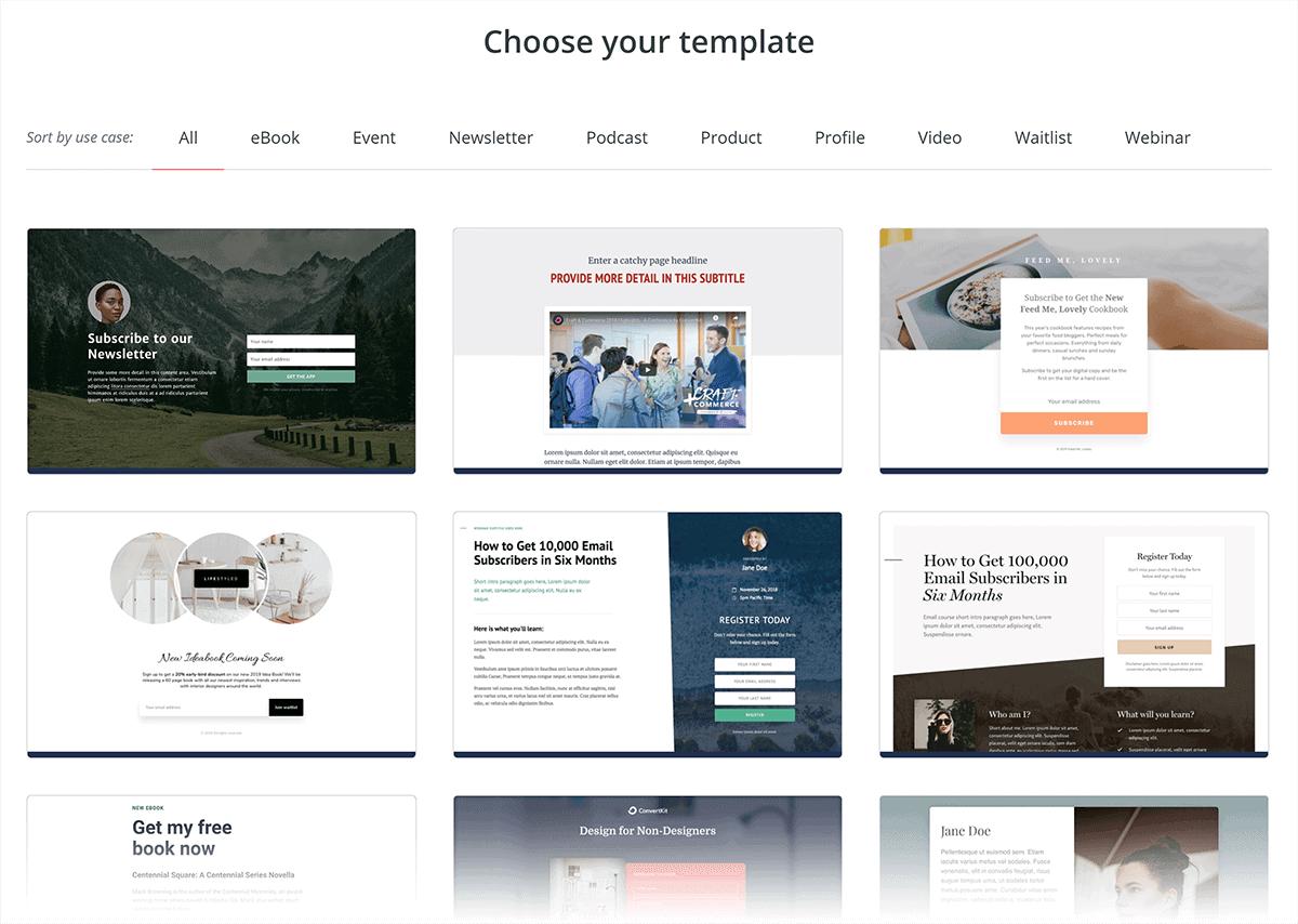 ConvertKit – Landing page templates