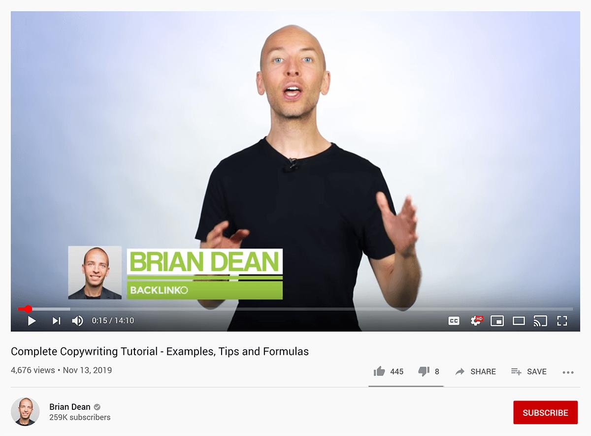 Copywriting Tutorial - YouTube video