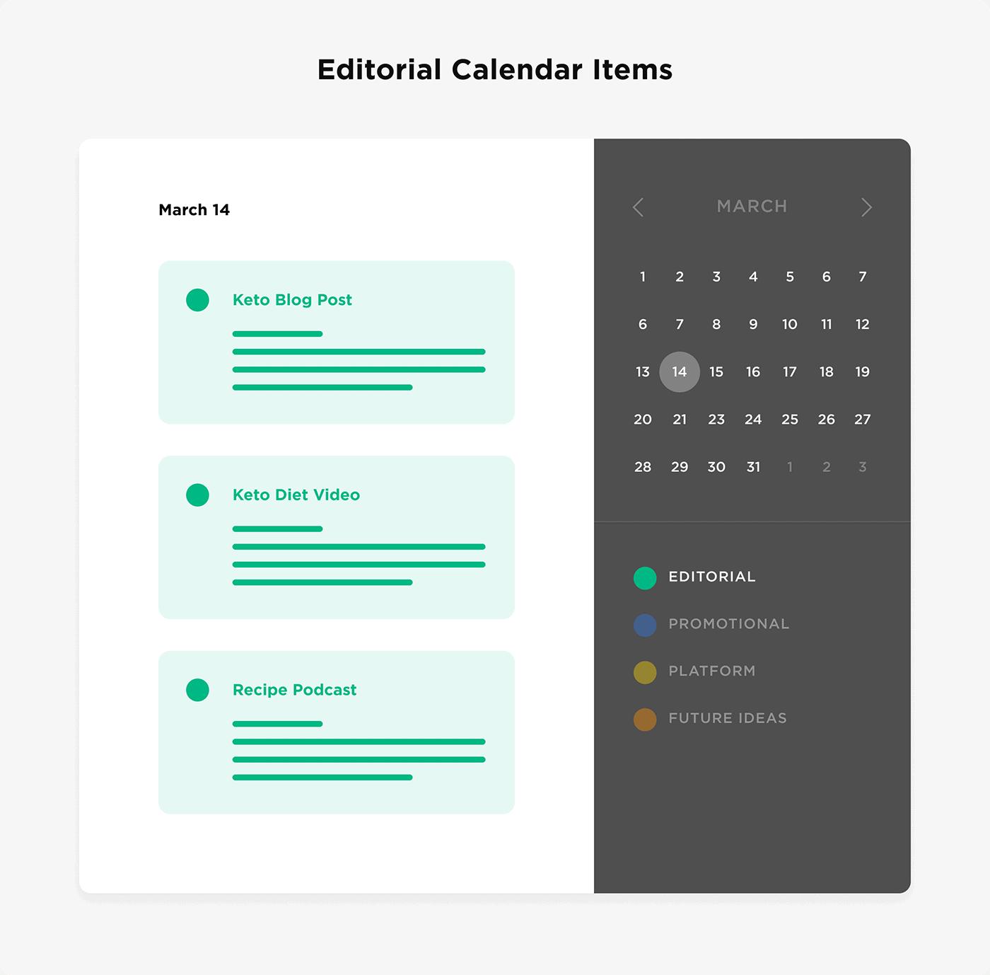 Editorial calendar items