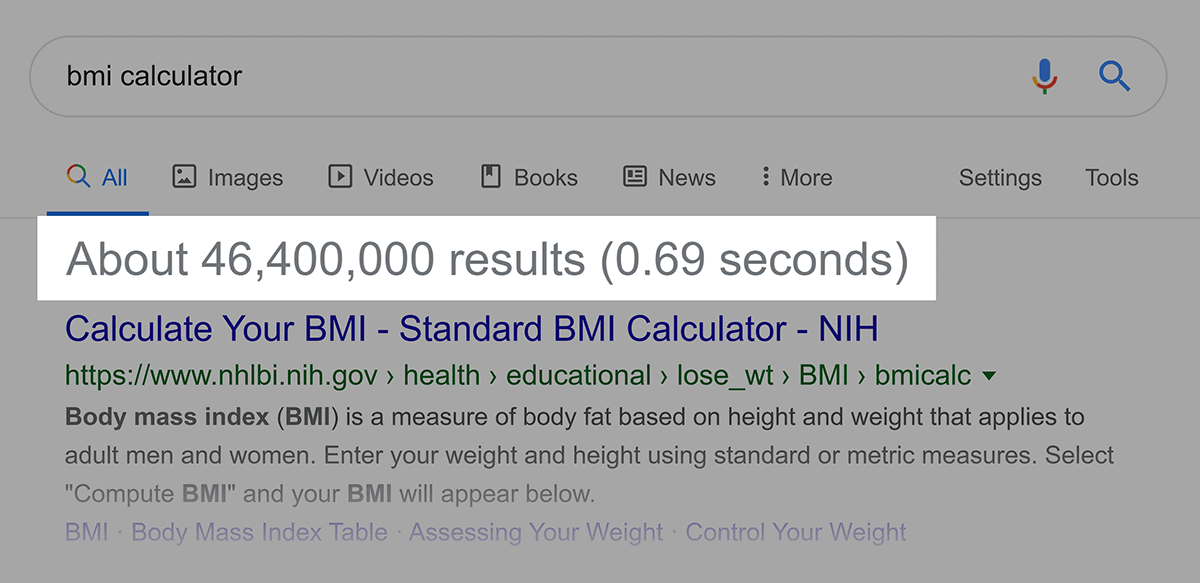 """Google search – Results numbers for """"bmi calculator"""""""