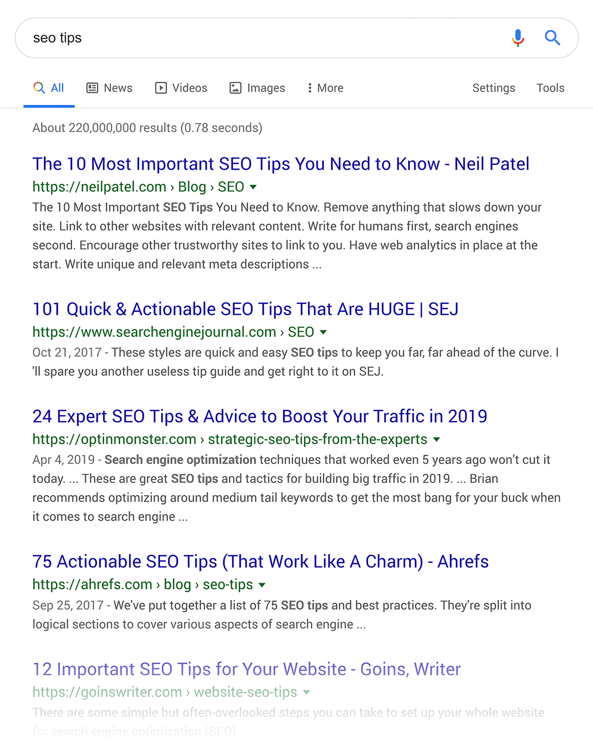"Google search for ""seo tips"""