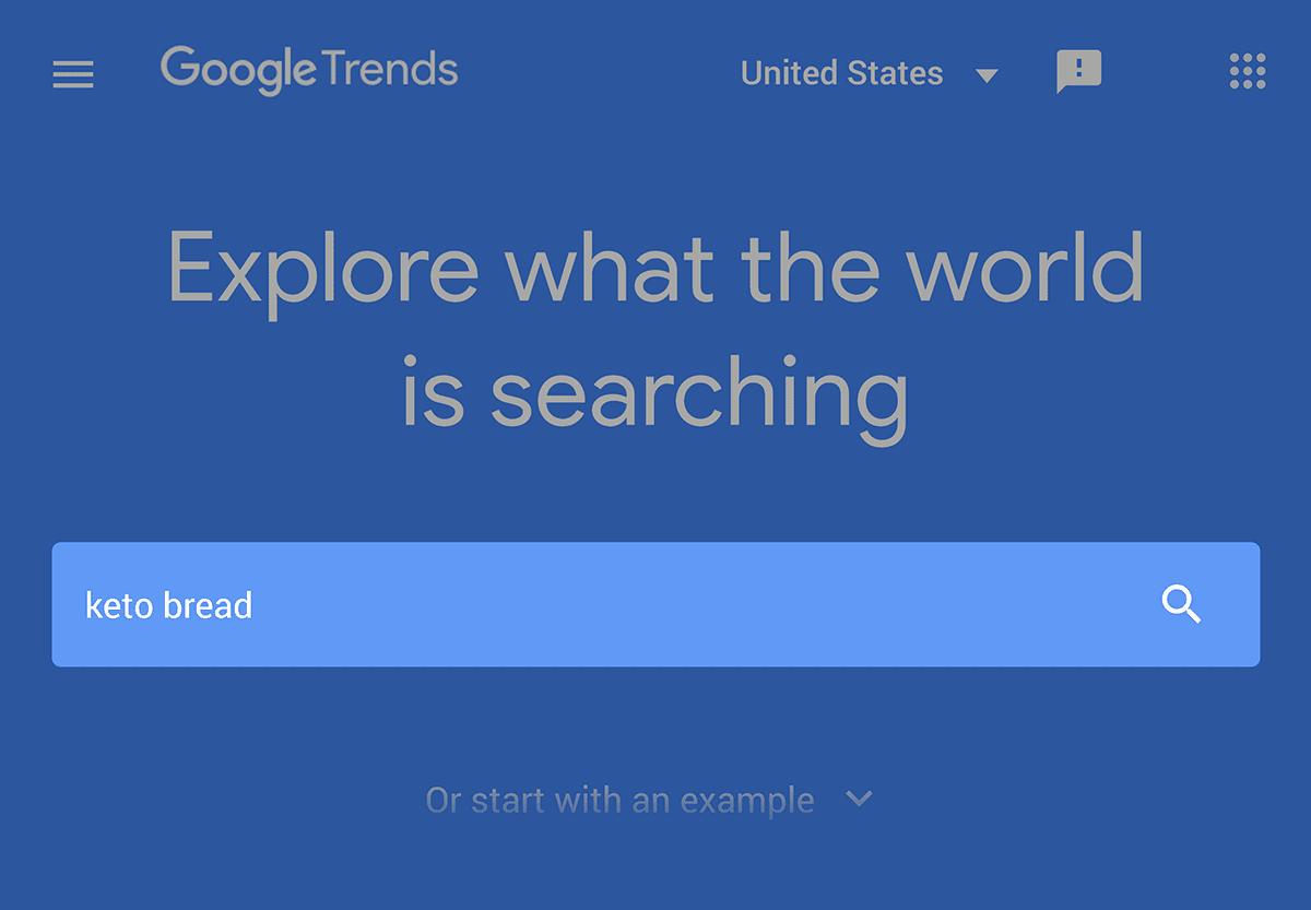 """Google Trends """"keto bread"""" search"""