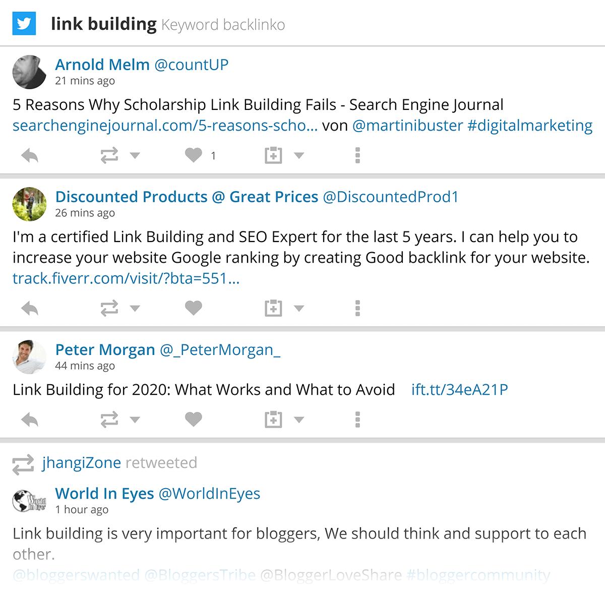 Hootsuite – Link building stream