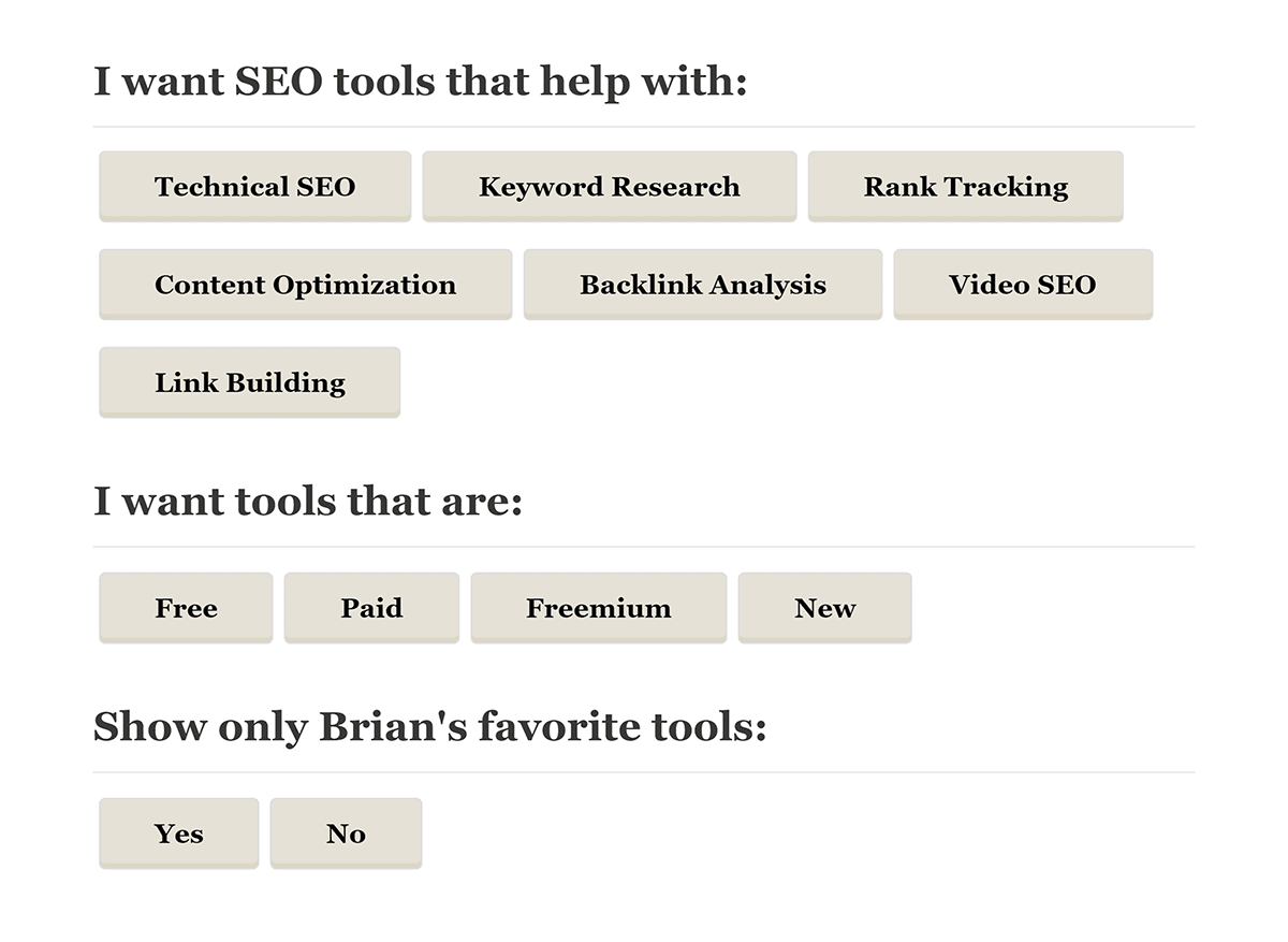 Interactive filter from SEO Tools post