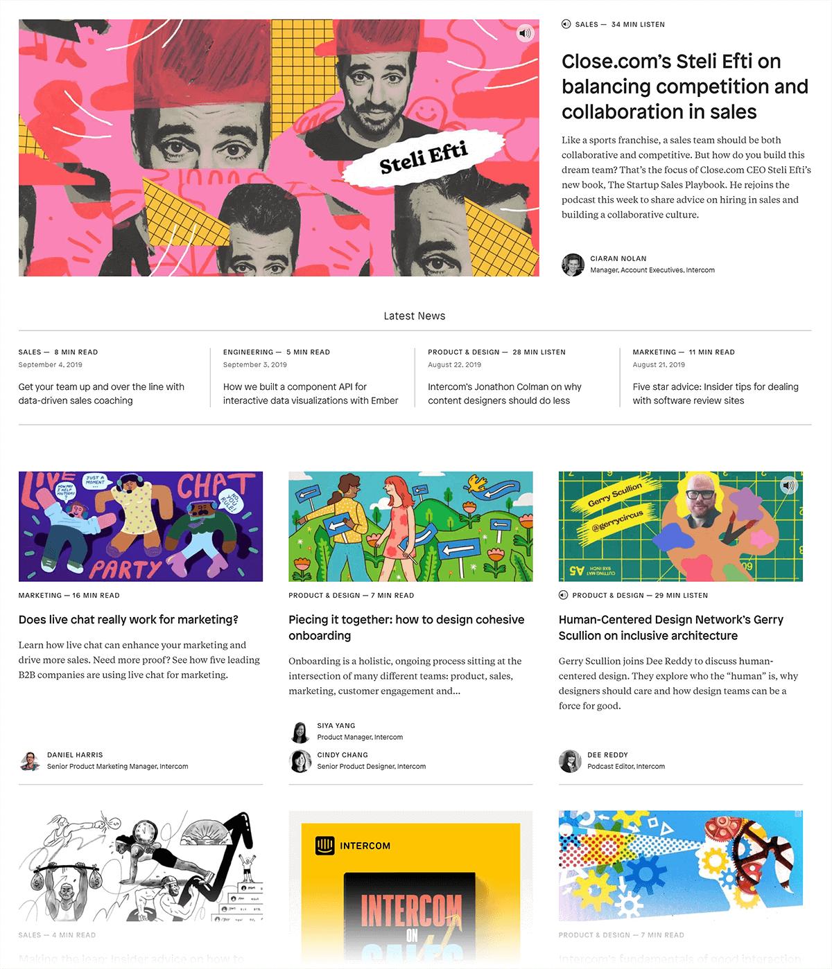 Intercom blog layout