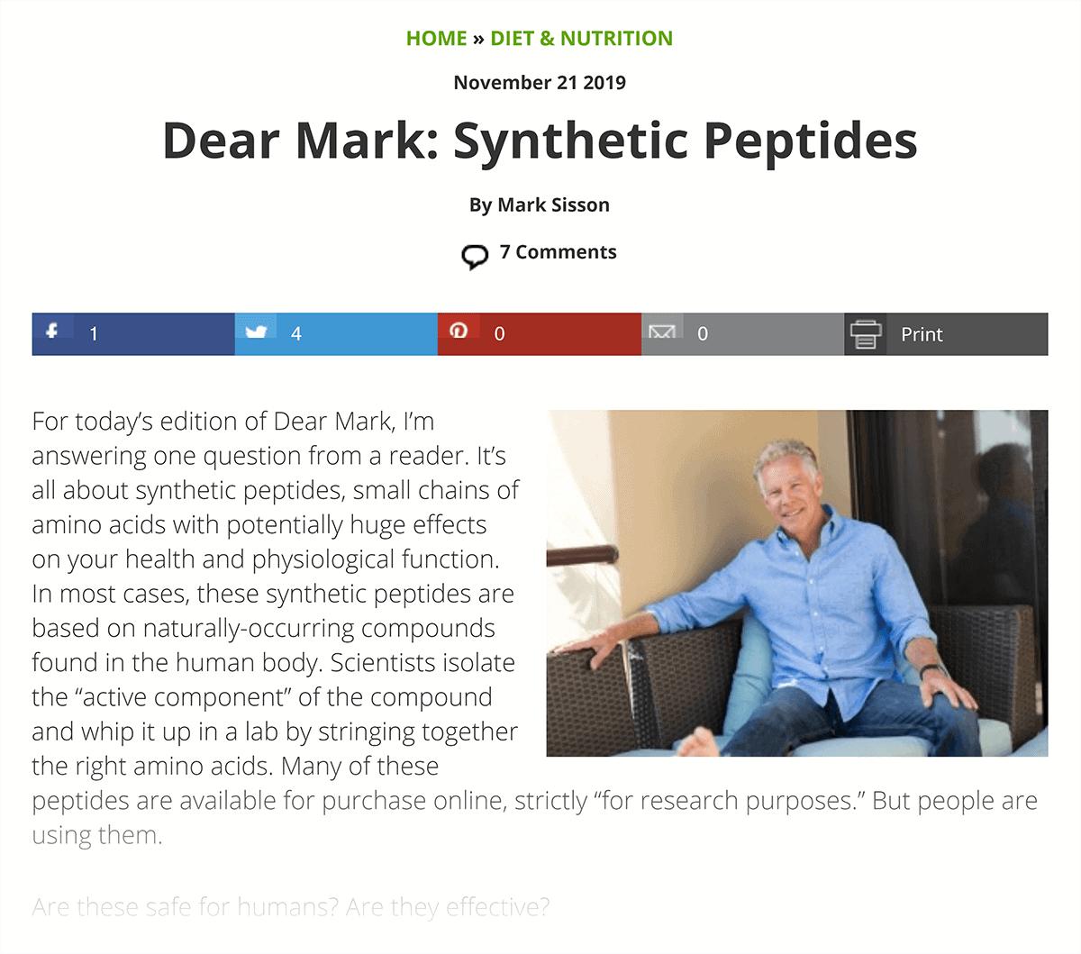 Mark's Daily Apple – Dear Mark section