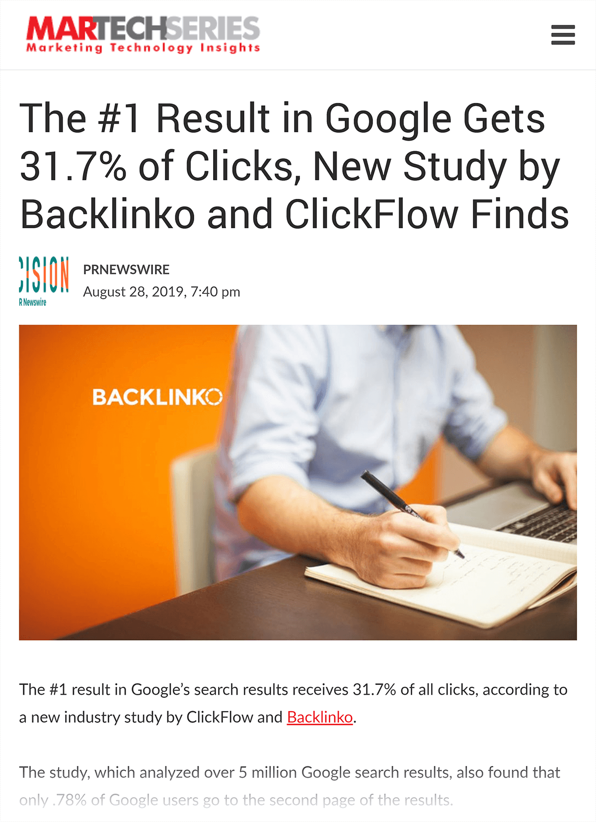 MarTechSeries – Backlinko study article