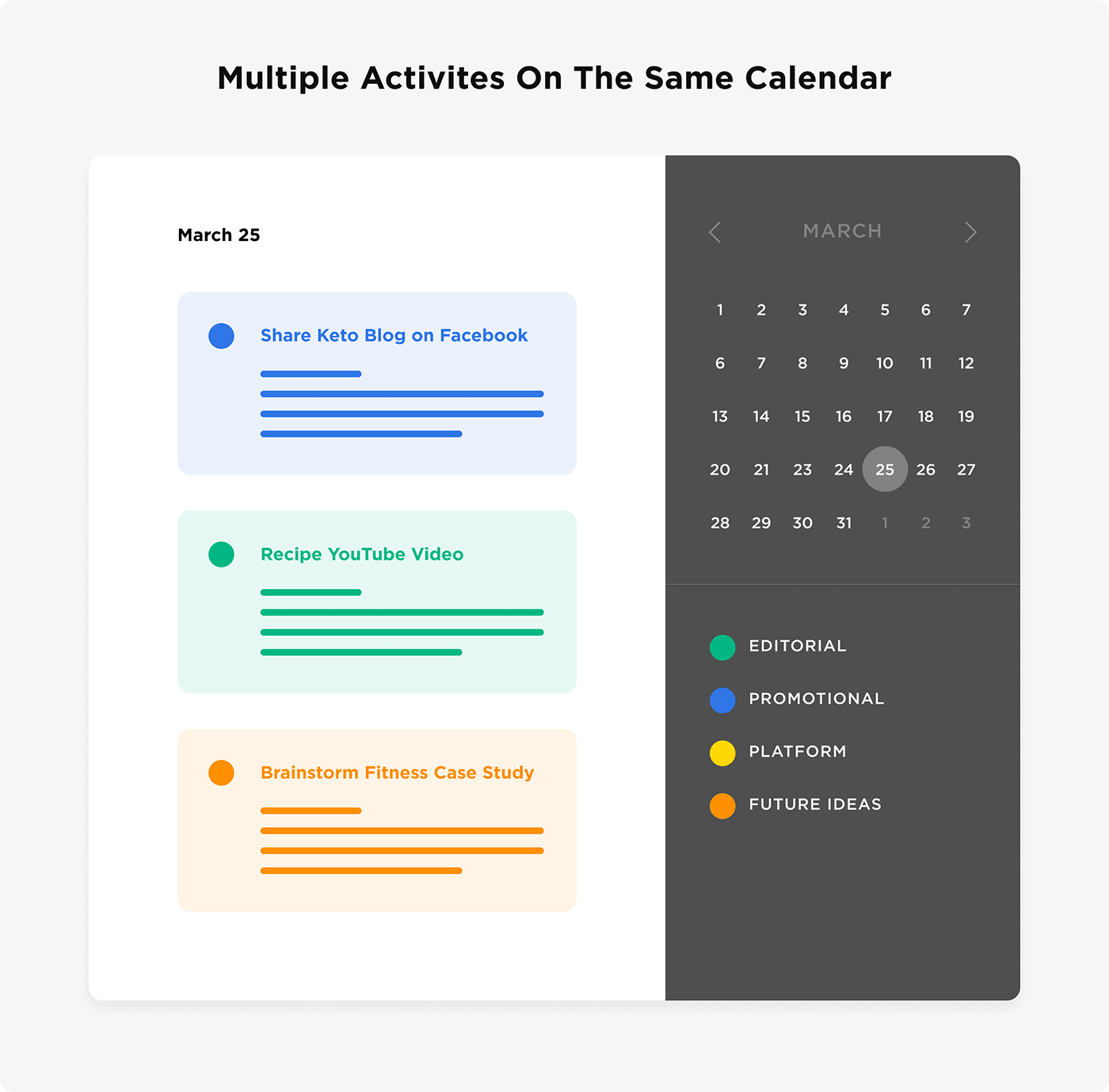 Multiple activities on the same calendar