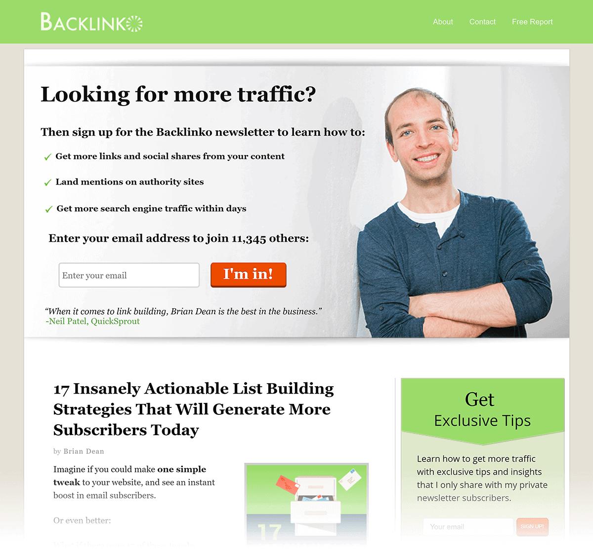 Old Backlinko homepage