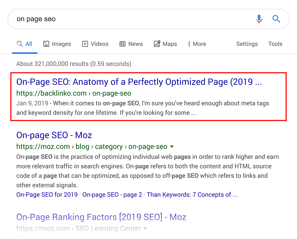 """on page seo"" – Google ranking"