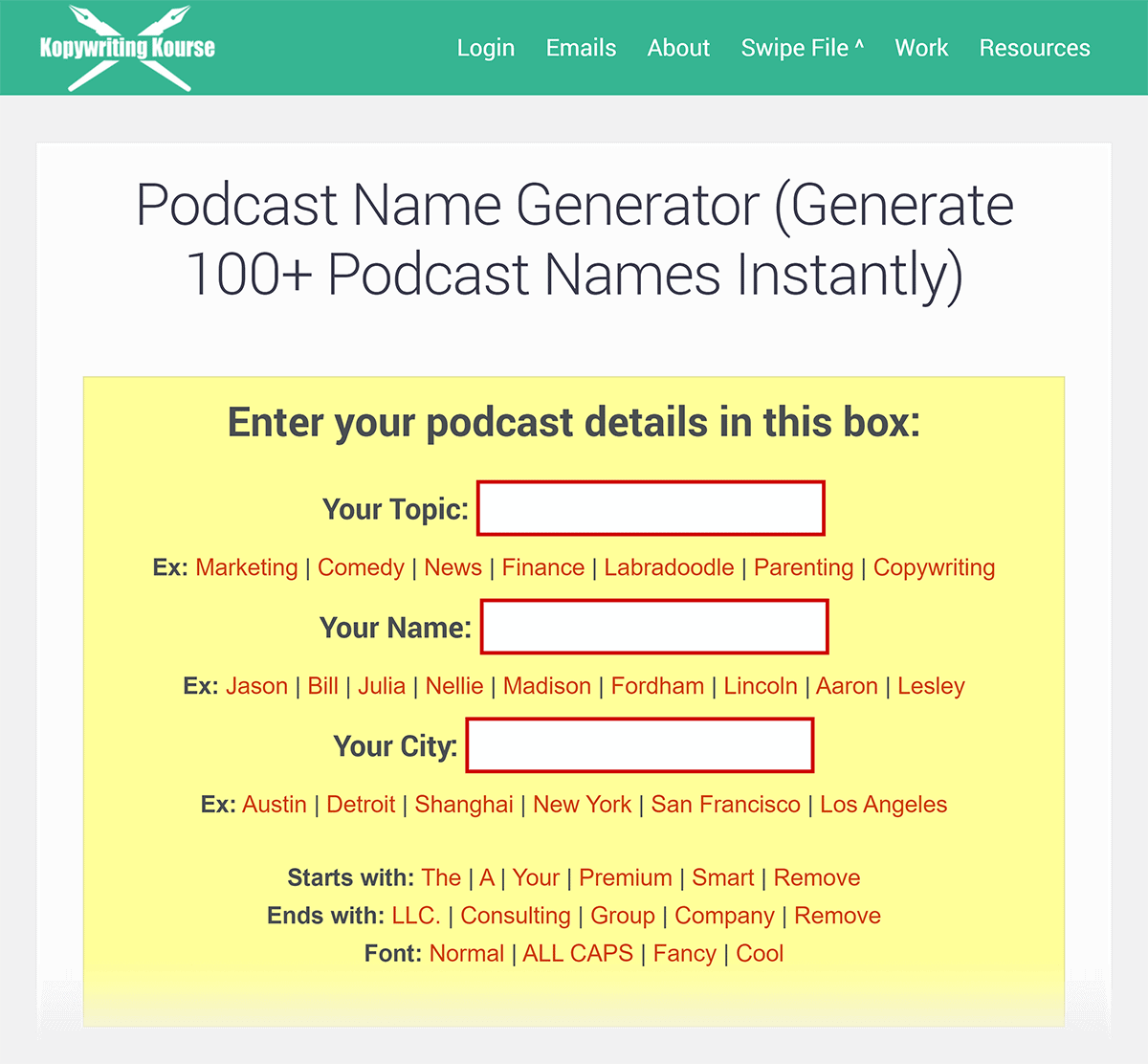 Podcast name generator tool