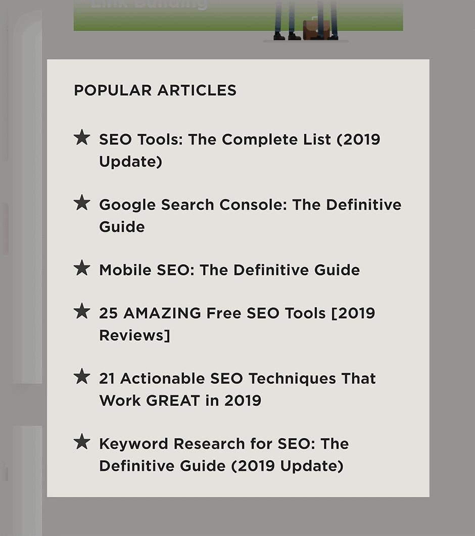 Popular articles on Backlinko blog