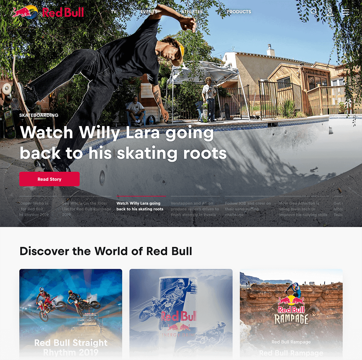 RedBull – Homepage content