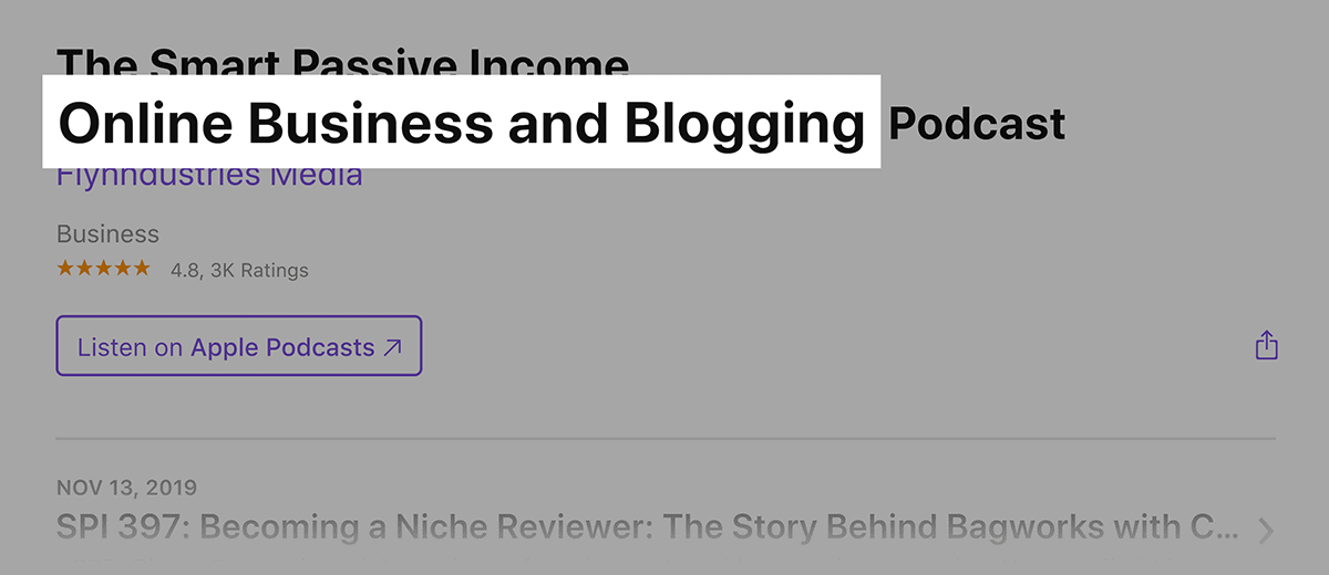 Related keywords in podcast name