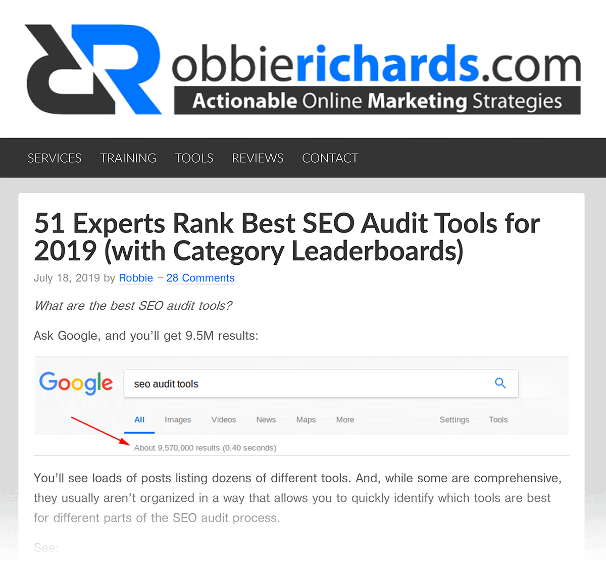 RobbieRichards – Best SEO Audit Tools post