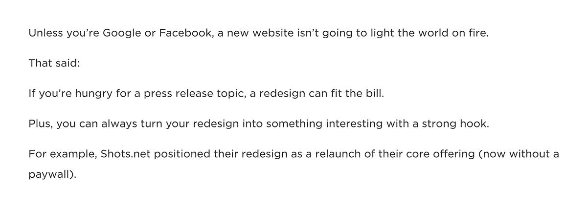 Short paragraphs in blog post