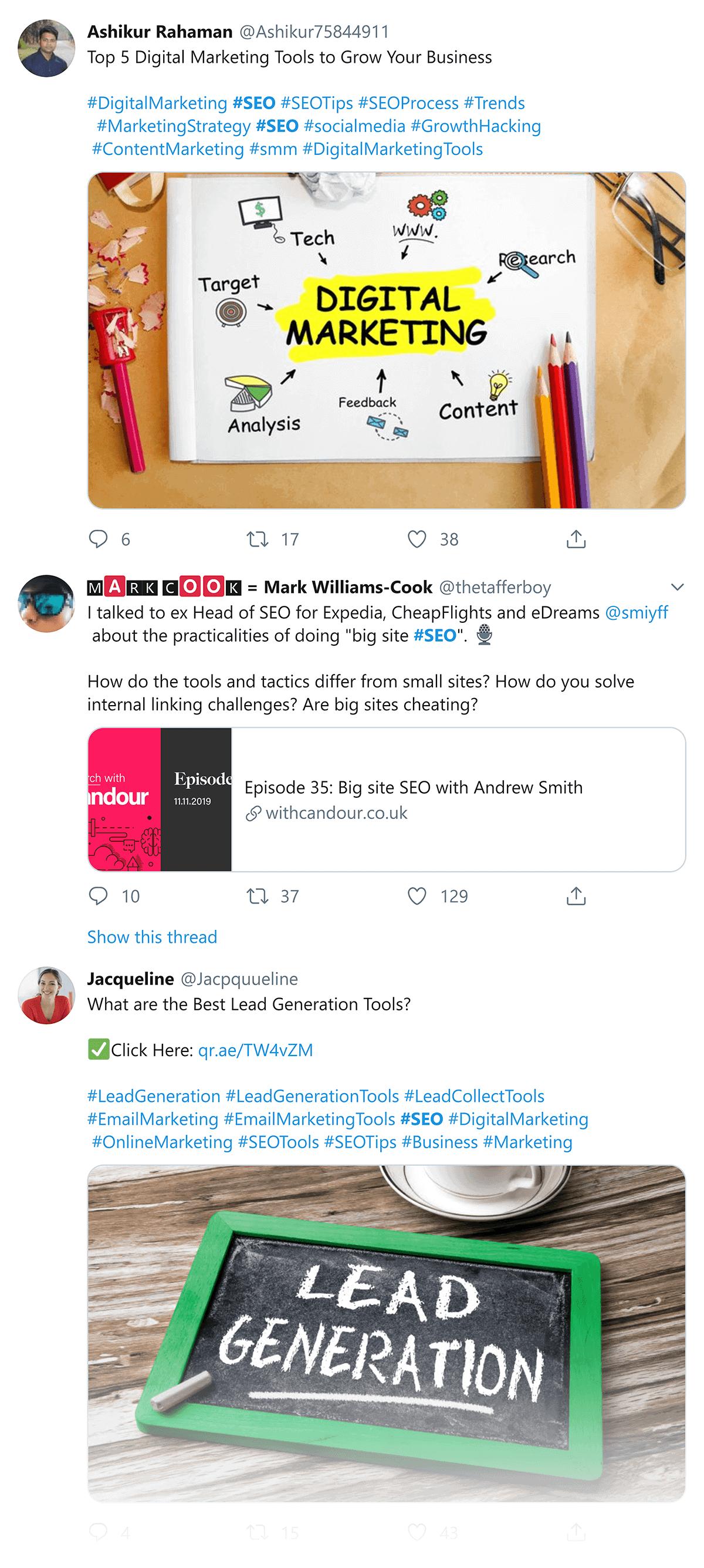 Trending SEO content on Twitter