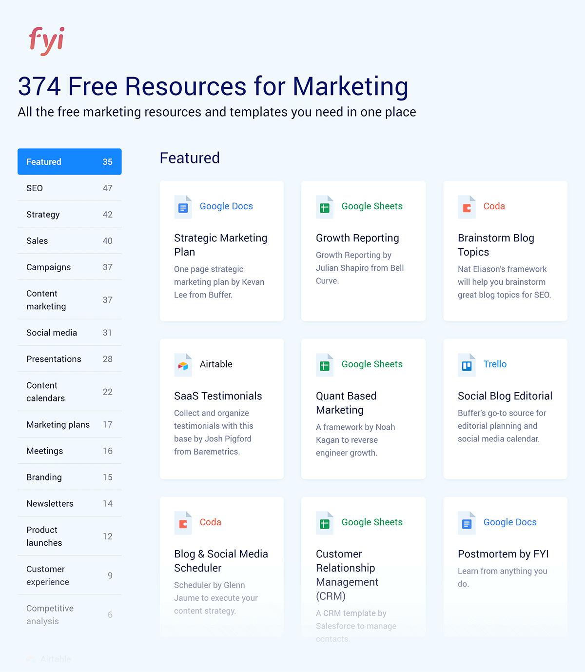 UseFYI – Marketing templates