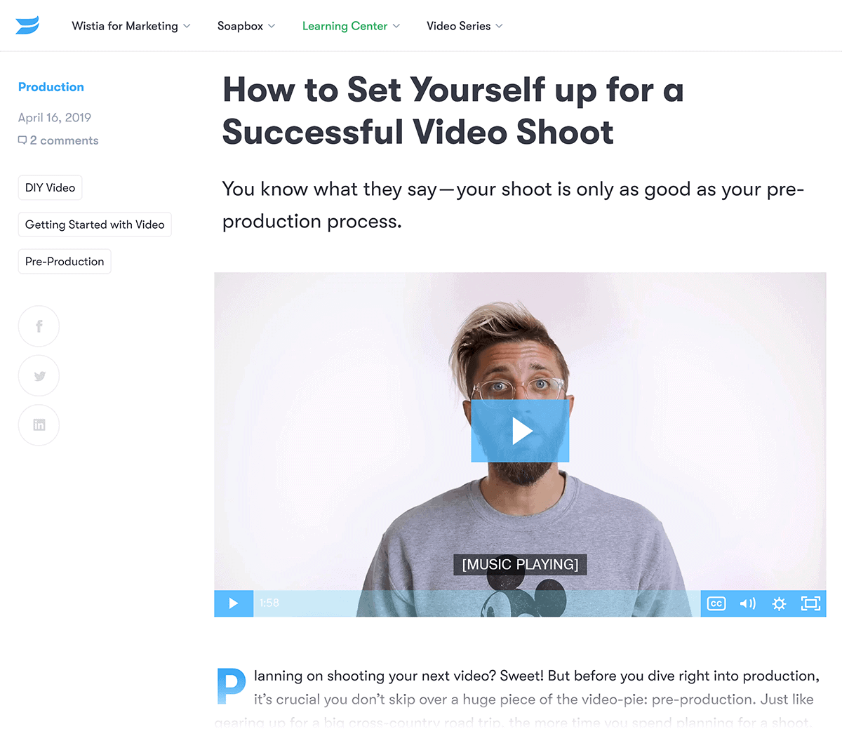 Wistia content on video production