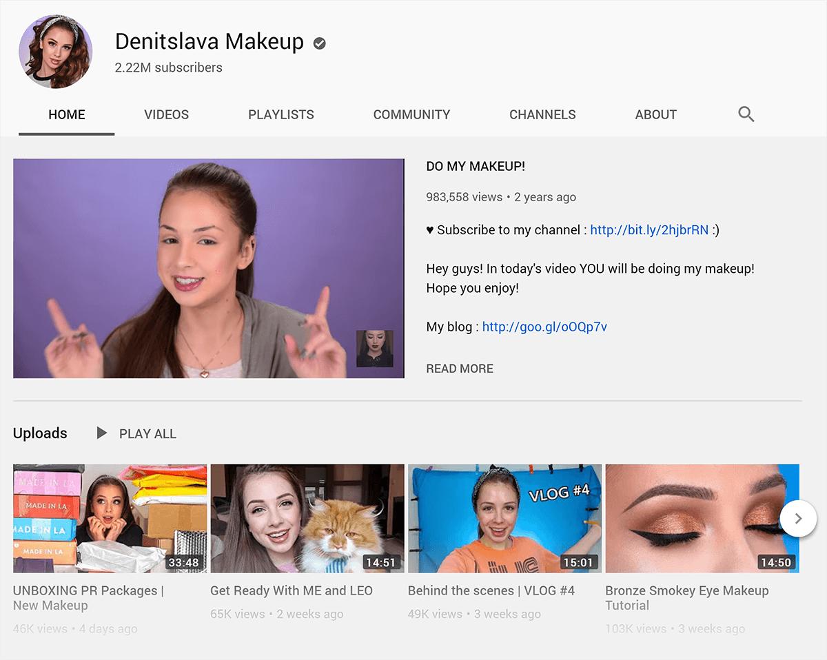 YouTube – Denitslava Makeup channel