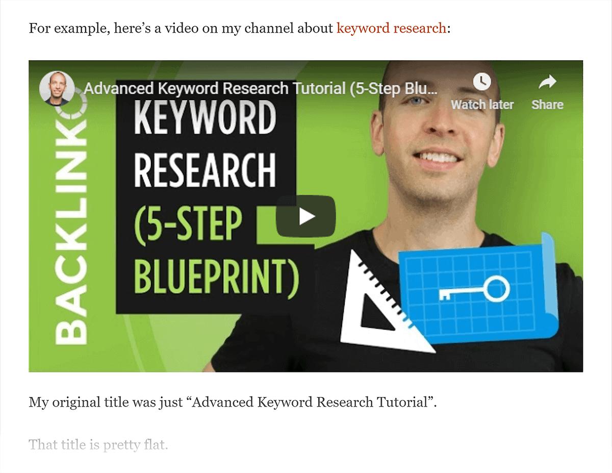 YouTube video embed on Backlinko blog post