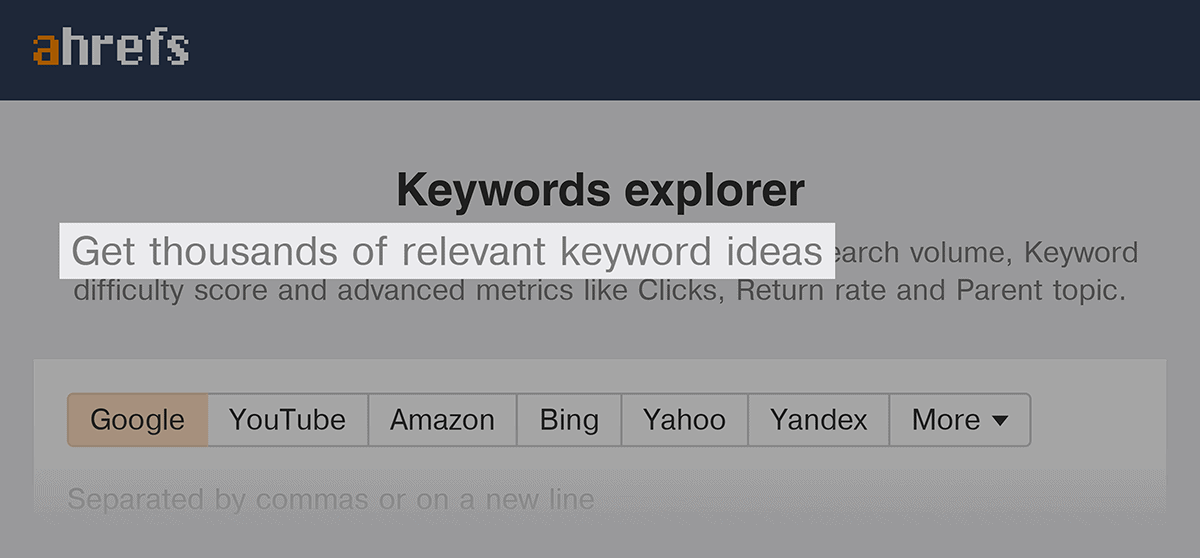 Ahrefs – Keywords Explorer – Thousands of ideas