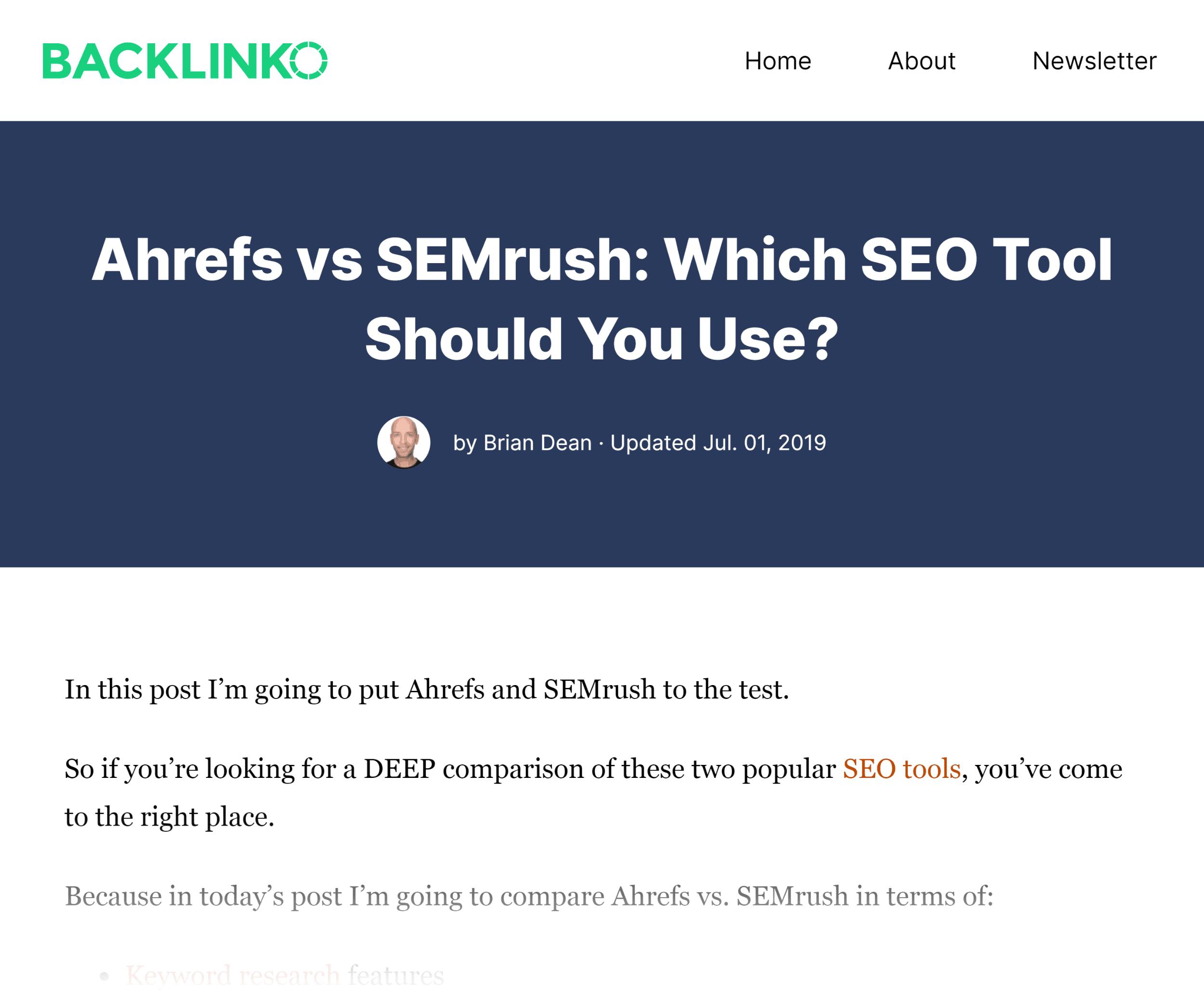 Backlinko – Ahrefs vs. SEMrush post