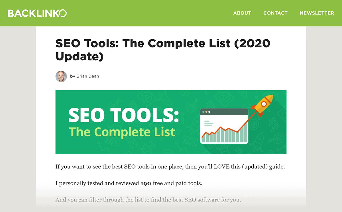 Backlinko – SEO Tools post