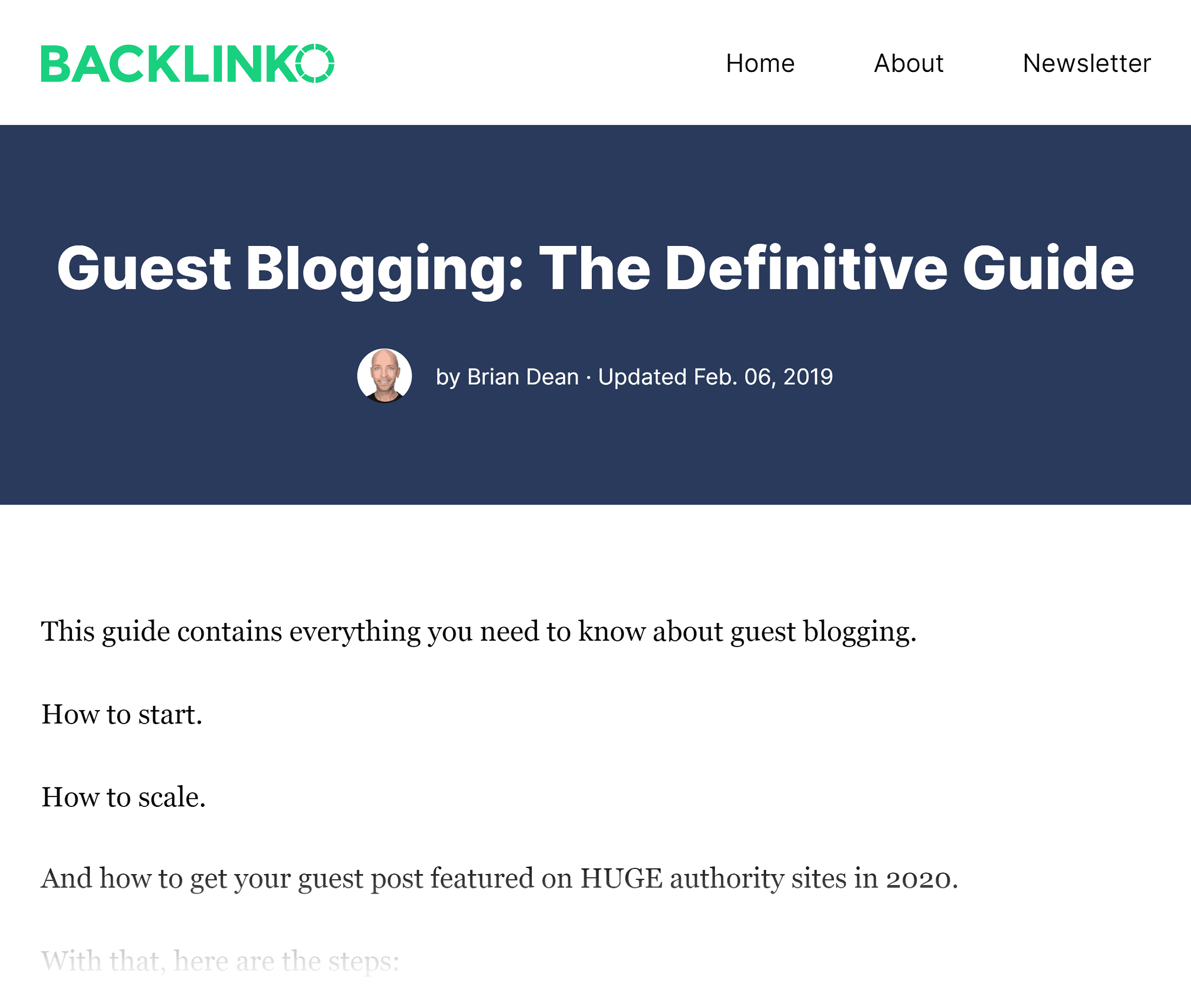 Backlinko – The Definitive Guide to Guest Blogging
