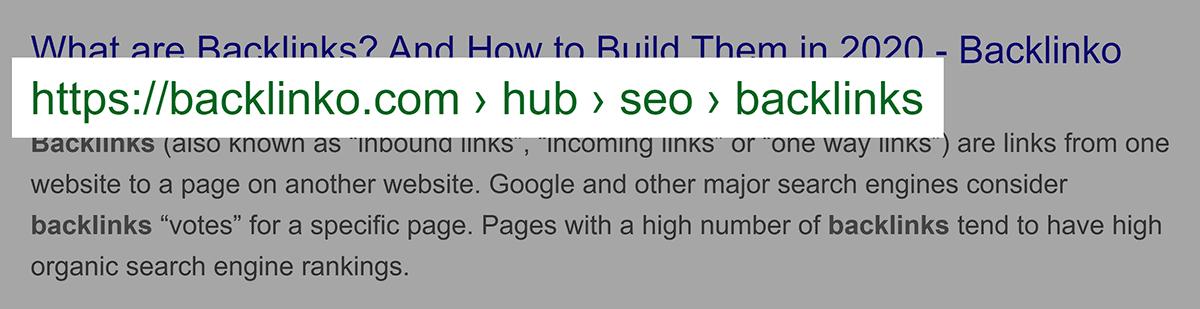 Breadcrumb URL in Google SERP