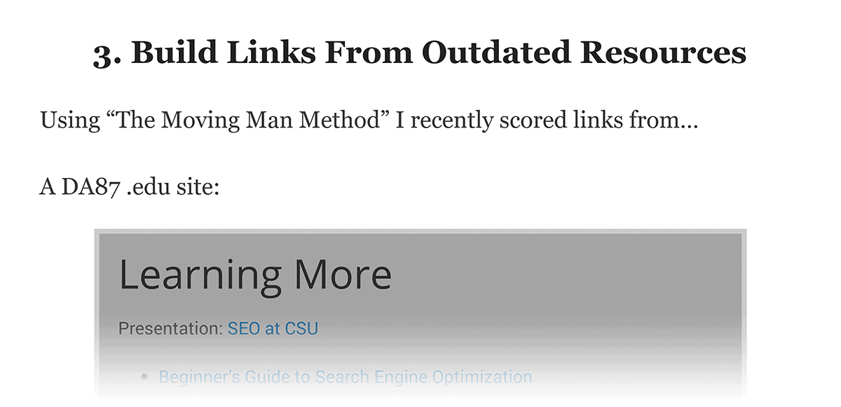 Build links from outdated resources