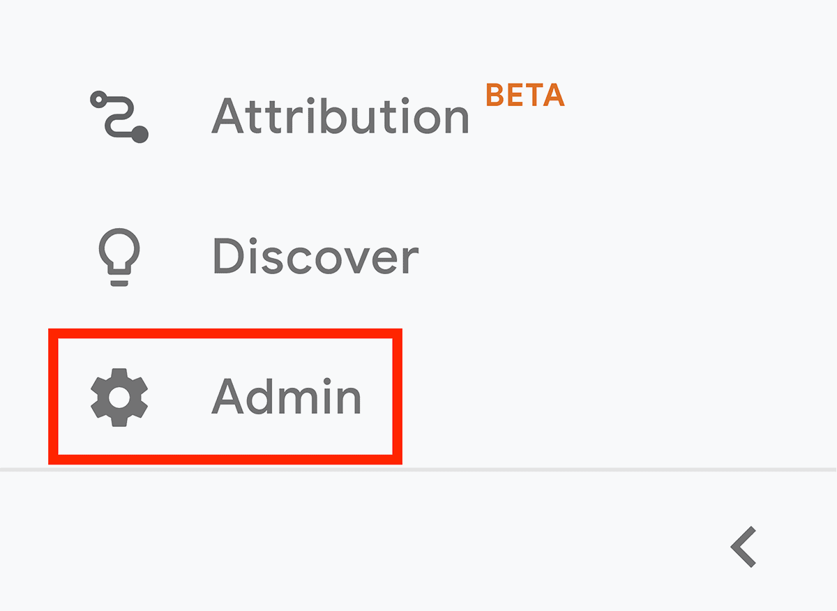 Google Analytics – Admin option