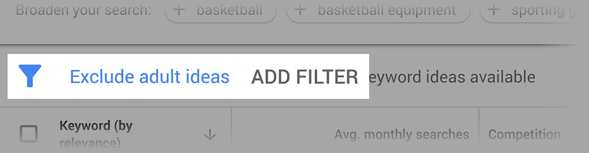 Google Keyword Planner – Filters