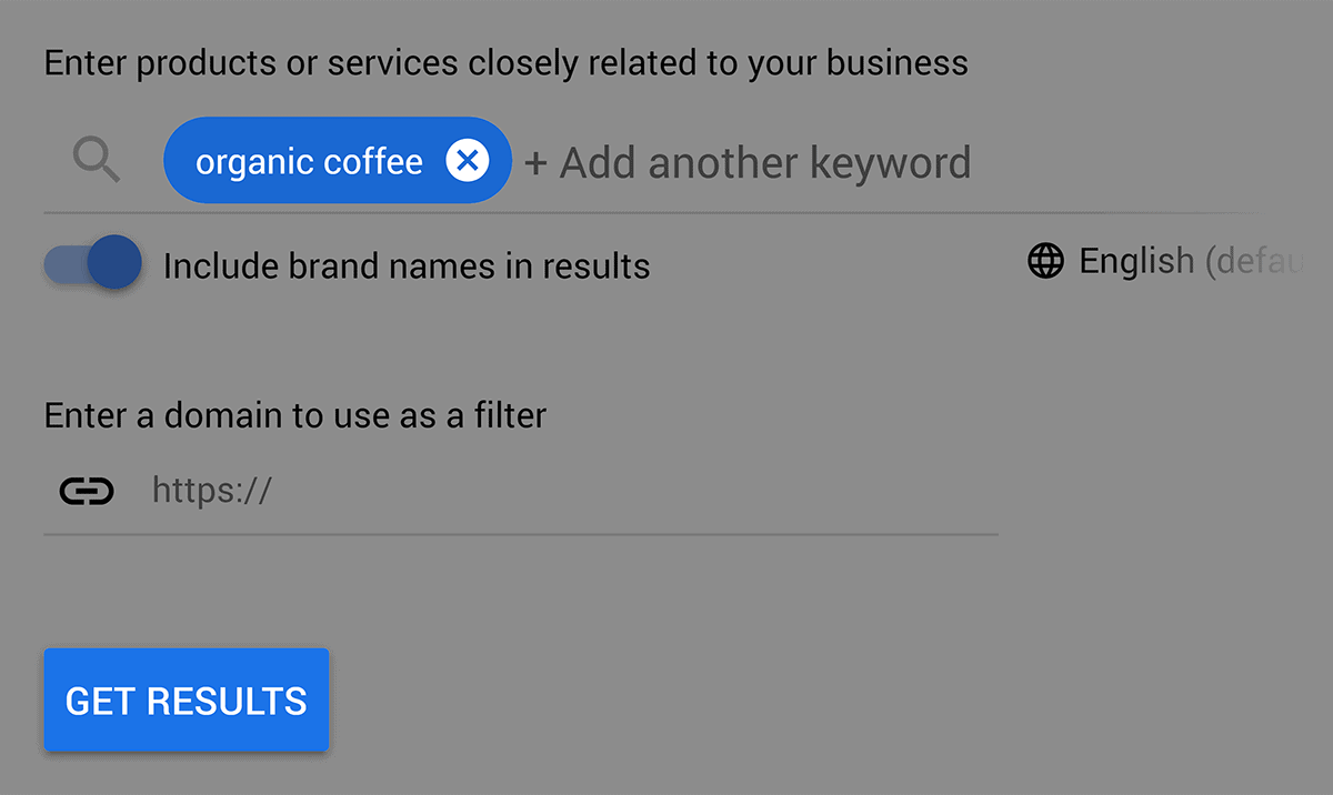"Google Keyword Planner – ""organic coffee"""
