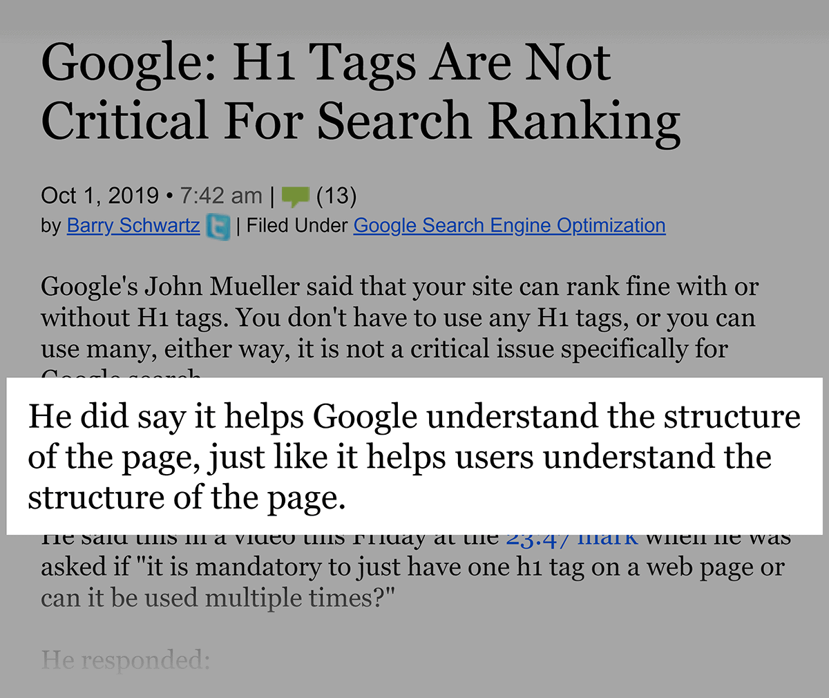 Google on H1 tags for rankings