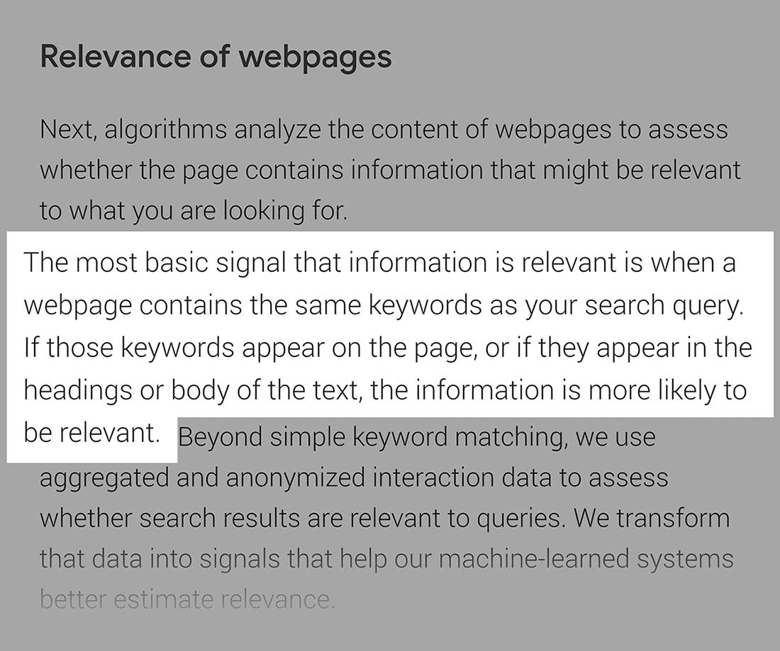 Google on On-page SEO