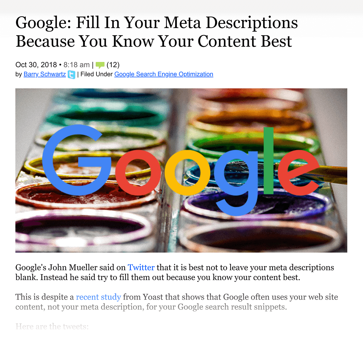 "Google says ""Fill in your meta descriptions"""